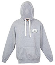hoodie sweatshirt color grey front view on white background with bear plumbing brand text for advertising