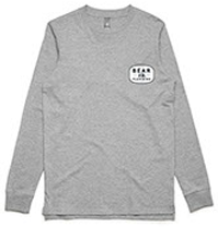light grey long sleeve top and t-shirt with bear plumbing brand text for advertising