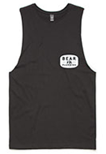 black tank top and t-shirt with bear plumbing brand text for advertising