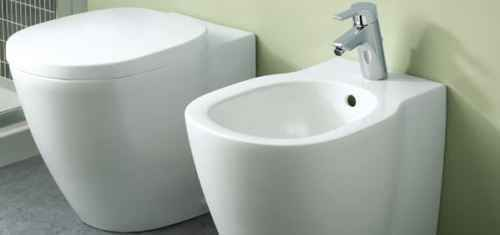 Interior of bathroom with bidet and toilet. Modern design of bathroom.