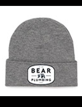 beanie in grey on white background with bear plumbing brand text for advertising